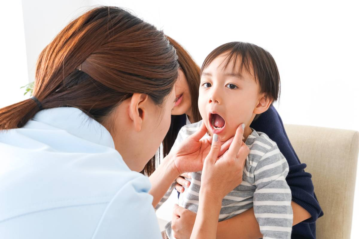 Young child at the dentist for a checkup.