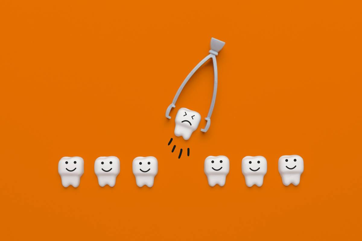 Illustration of removing a tooth on orange background.